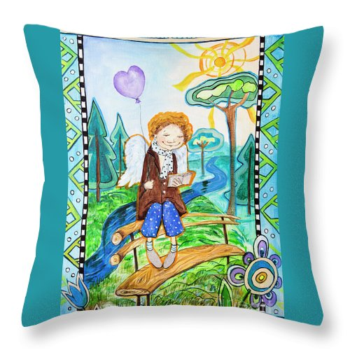 Angel Throw Pillow featuring the painting Angel by Yana Sadykova