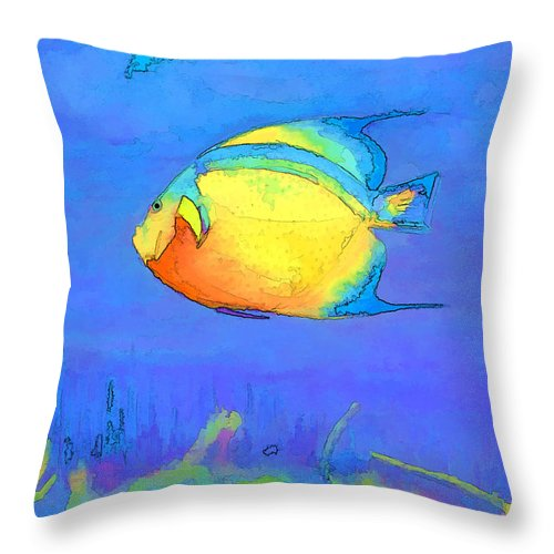 Fish Throw Pillow featuring the mixed media Angelfish by Arline Wagner