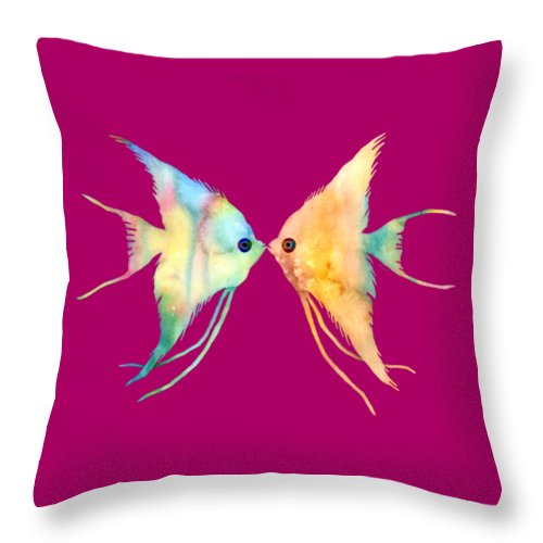 Fish Throw Pillow featuring the painting Angelfish Kissing by Hailey E Herrera