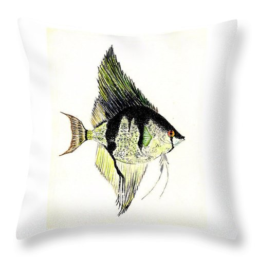 Fish Throw Pillow featuring the painting Angelfish by Michael Vigliotti