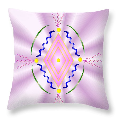 Angel Throw Pillow featuring the digital art Angelic Code - Sacred Symbol Of Love by Konstadina Sadoriniou