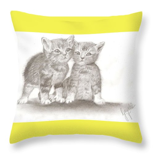 Kittens Throw Pillow featuring the drawing Angelic Kittens by Gayatri Ketharaman