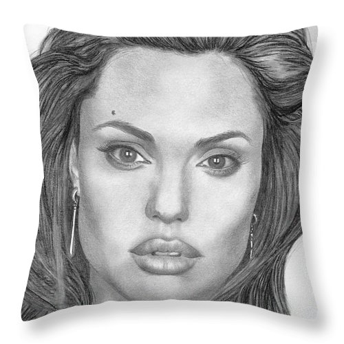 Angelina Throw Pillow featuring the drawing Angelina Jolie by Karen Townsend