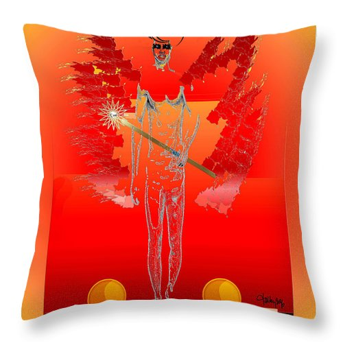 Throw Pillow featuring the painting Angels - Archangel Sariel by Larry Talley