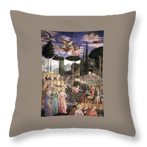 Christmas Throw Pillow featuring the painting Angels Art by Munir Alawi