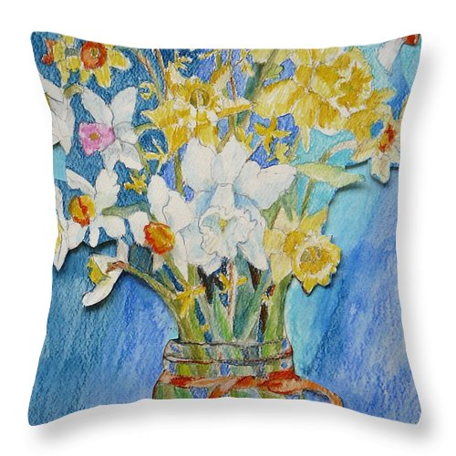 Flowers Throw Pillow featuring the painting Angels Flowers by Jan Bennicoff