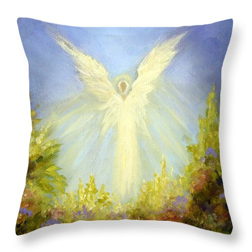 Angel Throw Pillow featuring the painting Angel's Garden by Marina Petro