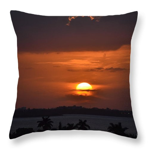 Miami Beach Throw Pillow featuring the photograph Angel's Head Sunset by Rene Triay Photography