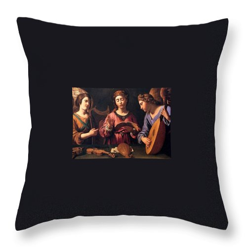 Christmas Throw Pillow featuring the painting Angels Singing by Munir Alawi