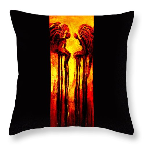 Abstract Throw Pillow featuring the painting Angels Talk by Milda Aleknaite
