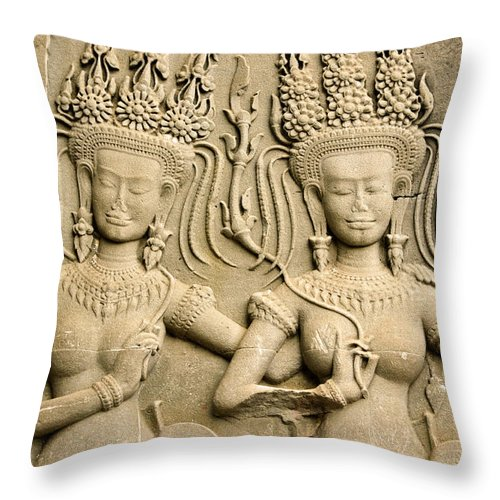 Asia Throw Pillow featuring the photograph Angkor Wat Relief by Michele Burgess