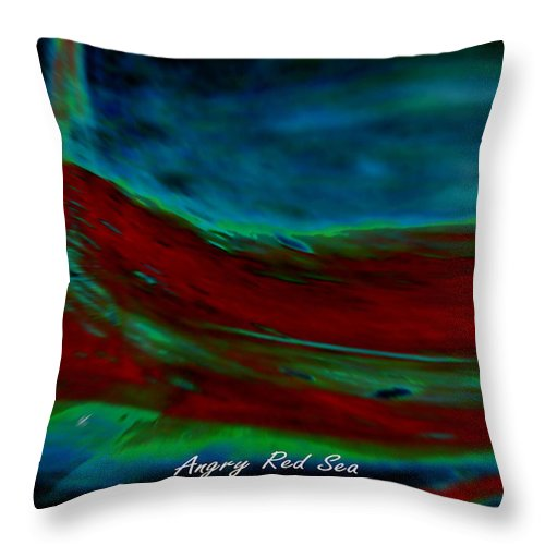 Digital Throw Pillow featuring the painting Angry Red Sea by John Krakora