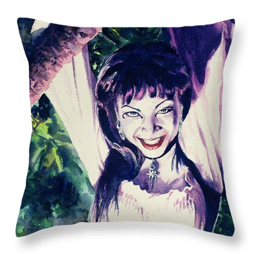 Women Throw Pillow featuring the painting Anissa by Ken Meyer
