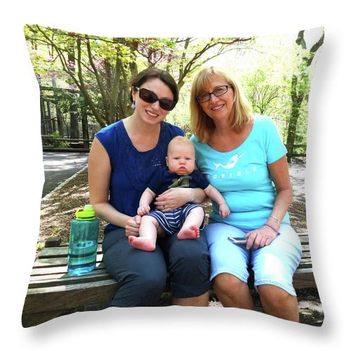 Anita Liggett Throw Pillow featuring the photograph Anita, Amanda And Dominic by Joyce Huber
