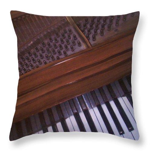 Piano Throw Pillow featuring the mixed media Anita's Piano 1 by Anita Burgermeister
