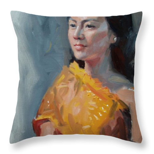 Portrait Throw Pillow featuring the painting Anna by Dianne Panarelli Miller