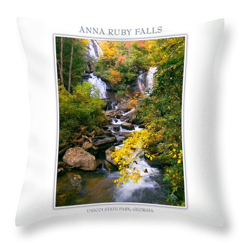 Landscape Throw Pillow featuring the photograph Anna Ruby Falls by Peter Muzyka