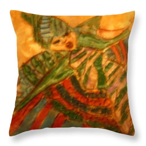 Jesus Throw Pillow featuring the ceramic art Anne - Tile by Gloria Ssali