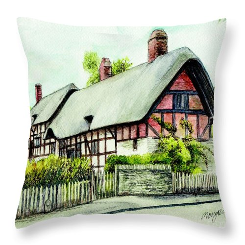 Anne Throw Pillow featuring the painting Anne Hathaway Cottage England by Morgan Fitzsimons