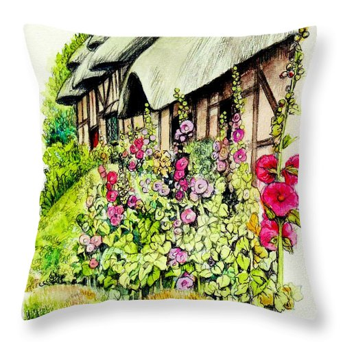 Anne Throw Pillow featuring the painting Anne Hathaway Cottage by Morgan Fitzsimons