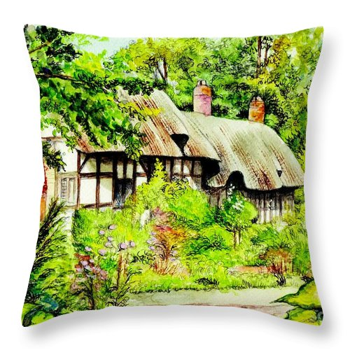 Anne Throw Pillow featuring the painting Anne Hathaways Cottage by Morgan Fitzsimons