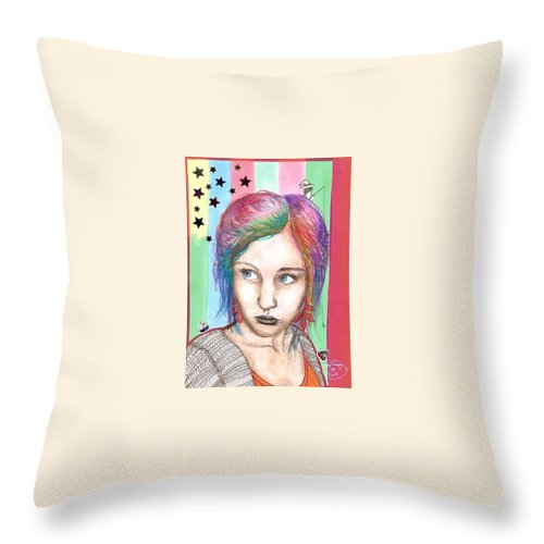 Stars Throw Pillow featuring the drawing Anne Sofie by Freja Friborg