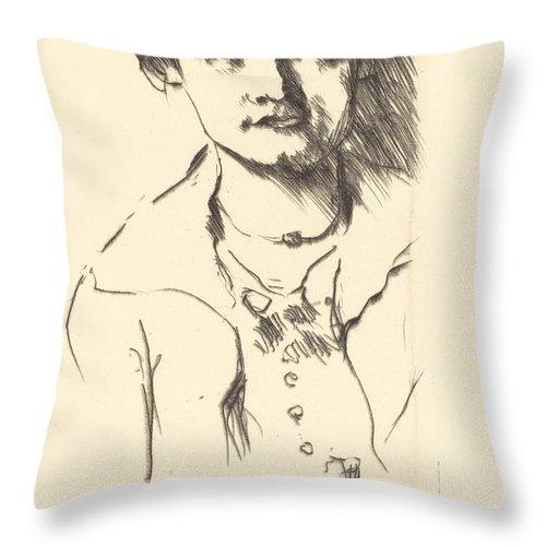 Throw Pillow featuring the drawing Anneliese Halbe (bildnis Einer Jungen Dame (anneliese Halbe)) by Lovis Corinth