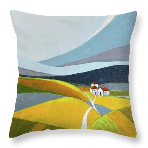 Landscape Throw Pillow featuring the painting Another Day On The Farm by Aniko Hencz