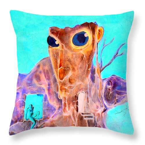 Surreal Color Eyes Structure Throw Pillow featuring the painting Another Few Seconds In My Head by Veronica Jackson