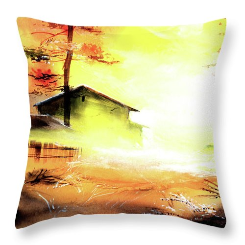Nature Throw Pillow featuring the painting Another Good Morning by Anil Nene