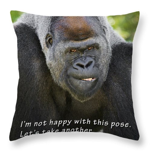 Gorilla Throw Pillow featuring the photograph Another Pose by Chad Davis