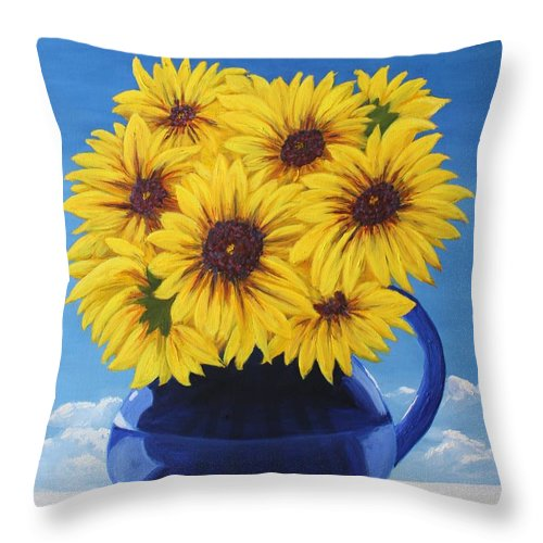 Floral Throw Pillow featuring the painting Another Sunflower in a Blue Bpicher by Mary Erbert