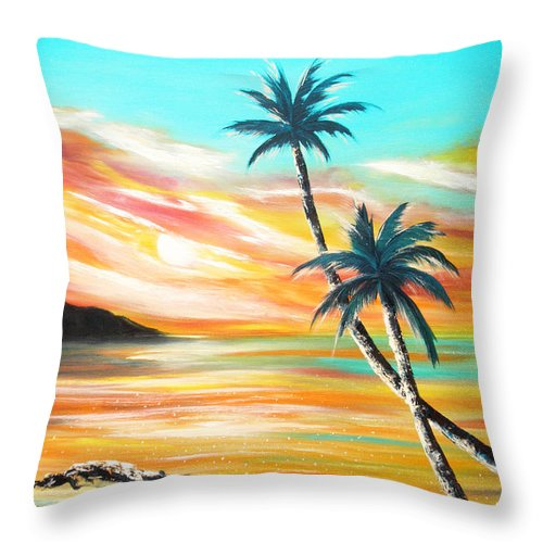 Sunset Throw Pillow featuring the painting Another Sunset In Paradise by Gina De Gorna