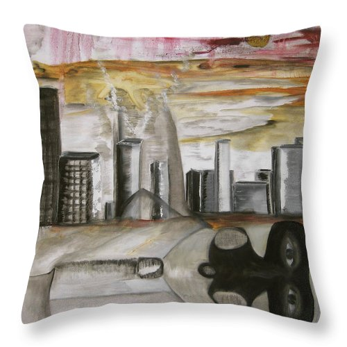 Apocalypse City End Futurism Inch Nails Nin Nine Oil Painting Times Year Zero Throw Pillow featuring the painting Another Version Of The Truth by Darkest Artist