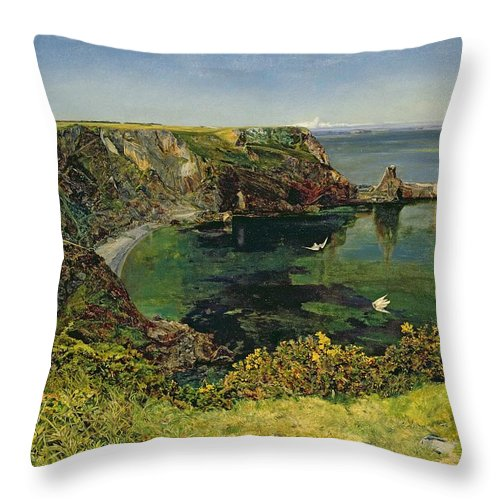 John William Inchbold Throw Pillow featuring the painting Anstey's Cove In Devon by John William Inchbold