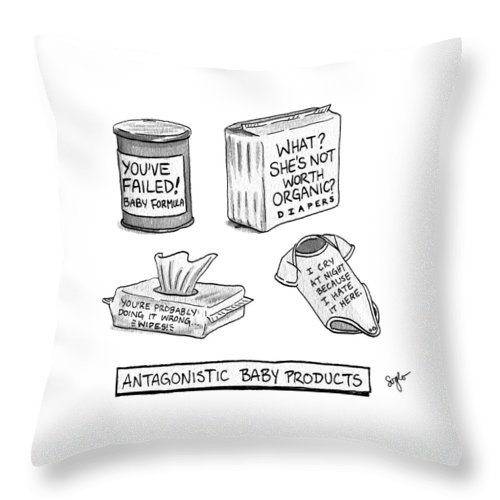 Antagonistic Baby Products Throw Pillow featuring the drawing Antagonistic Baby Products by Sophia Wiedeman