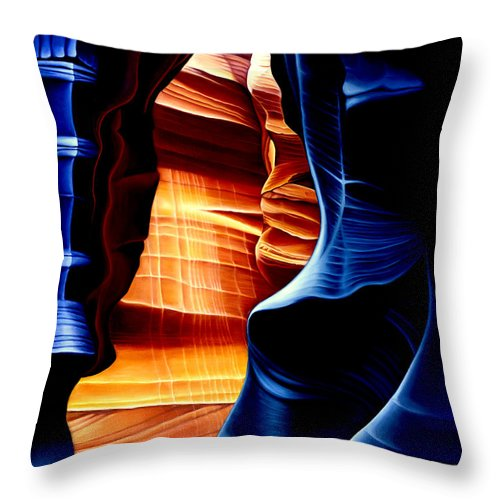Landscape Throw Pillow featuring the painting Antelope Canyon by Anni Adkins