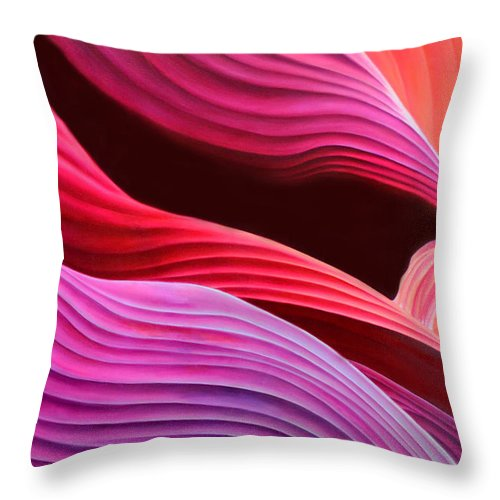 Antelope Canyon Throw Pillow featuring the painting Antelope Waves by Anni Adkins