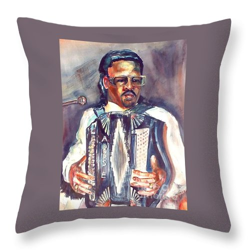 Accordian Throw Pillow featuring the painting Anthony by Beverly Boulet
