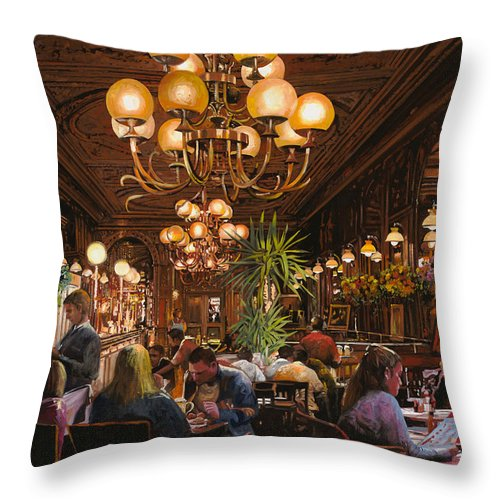 Brasserie Throw Pillow featuring the painting Antica Brasserie by Guido Borelli