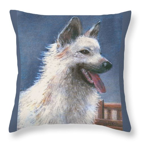 Dog Throw Pillow featuring the pastel Anticipating Their Return by Arline Wagner