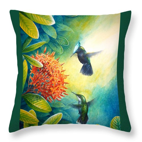 Chris Cox Throw Pillow featuring the painting Antillean Crested Hummingbirds and ixora by Christopher Cox