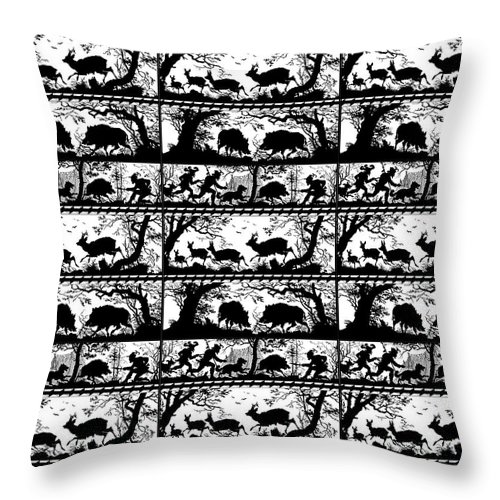 Bavarian Throw Pillow featuring the digital art Antique Bavarian Forest Scenes by Antique Images