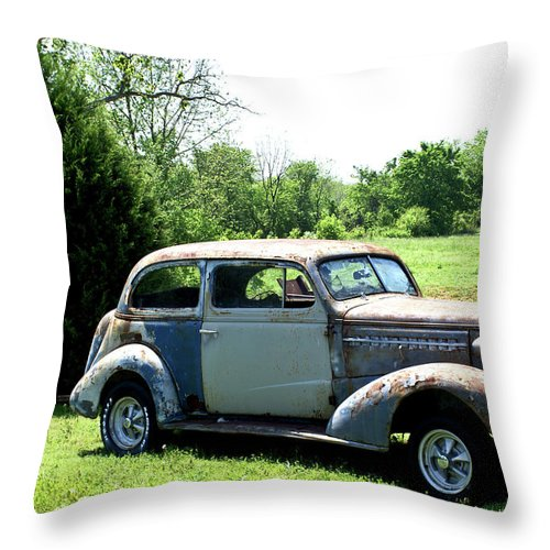 Antique Throw Pillow featuring the photograph Antique Car 1 by Douglas Barnett