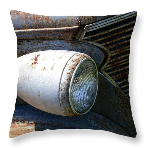 Antique Throw Pillow featuring the photograph Antique Car Headlight by Douglas Barnett