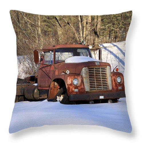 Copy Space Throw Pillow featuring the photograph Antique Grungy Truck In Snow by John Stephens