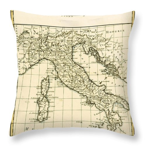 Maps Throw Pillow featuring the drawing Antique Map Of Italy by Guillaume Raynal