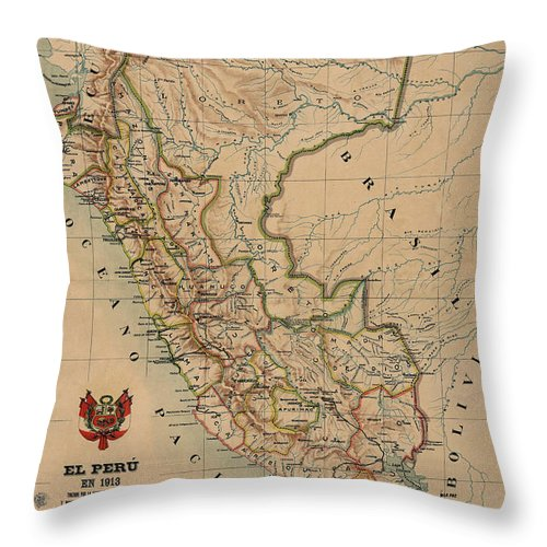 Antique Map Of Peru Throw Pillow featuring the drawing Antique Maps - Old Cartographic Maps - Antique Map Of Peru, South America, 1913 by Studio Grafiikka