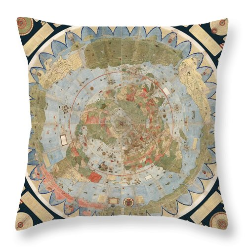 Antique maps old cartographic maps flat earth map map of the flat earth map throw pillow featuring the drawing antique maps old cartographic maps flat gumiabroncs Choice Image