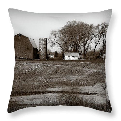 Barn Throw Pillow featuring the photograph Antique Michigan Farm by Onyonet Photo Studios